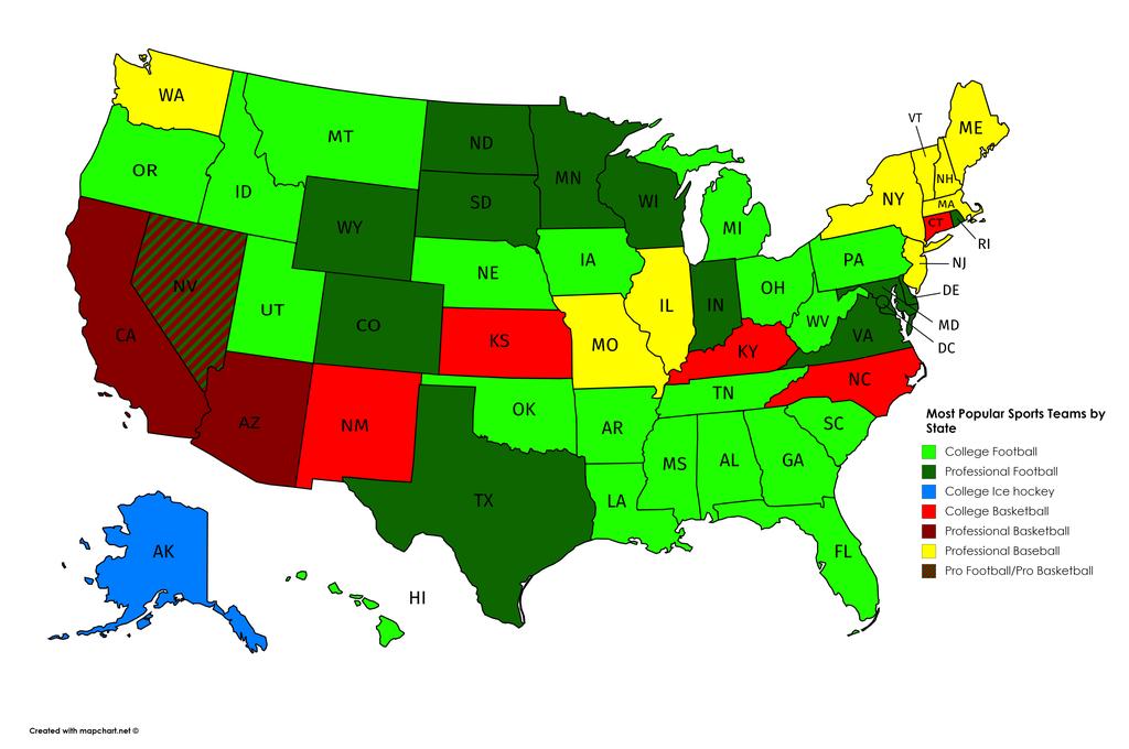 Χάρτης πιο δημοφιλούς αθλήματος ανά πολιτεία των ΗΠΑ